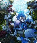 1boy brown_hair bubble coral frillish kyouhei_(pokemon) mantyke pokemon pokemon_(creature) pokemon_(game) pokemon_bw2 remoraid shell shorts tamamochi underwater wetsuit