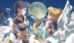 2girls anime_coloring bishoujo_senshi_sailor_moon black_hair blonde_hair blurry choker depth_of_field earrings eternal_sailor_moon feathers full_moon hair_ornament hairclip jewelry kyakya long_hair looking_at_another moon multiple_girls official_style ponytail profile sailor_moon sailor_star_fighter seiya_kou side star tsukino_usagi twintails wings