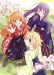 3girls adjusting_hair amatsuka_mao animal_ears blonde_hair blue_eyes blush boots cat_ears cherry_blossoms gj-bu japanese_clothes kirara_bernstein multiple_girls open_mouth orange_hair petals purple_hair smile sumeragi_shion udk v wind