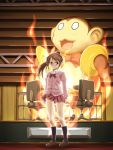 1girl aura blush brown_hair cardigan chair fire highres loafers meke_(ugeyameke) ponytail ribbon saki saki_achiga-hen shoes solo standing takakamo_shizuno