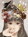 1girl brown_eyes brown_hair butterfly candy flower french_horn hair_flower hair_ornament instrument kurohal long_hair nail_polish original piano rose saxophone solo violin