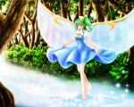 1girl barefoot blush bow daiyousei dress fairy_wings forest green_hair hair_bow looking_at_viewer nature payot satoji_(ochanomkmskry) short_hair short_sleeves side_ponytail skirt_hold smile solo sparkle stream tiptoes touhou walking_on_water wings yellow_eyes