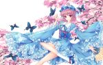 1girll butterfly fred0092 highres japanese_clothes pink_eyes pink_hair saigyouji_yuyuko sandals short_eyes sleeves_past_wrists solo touhou