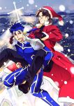 2boys blue_hair brown_hair christmas cross earrings fate/stay_night fate_(series) hair_pull hat jewelry kotomine_kirei lancer long_hair multiple_boys piggyback ponytail red_eyes santa_costume santa_hat sexy44 snow snowing
