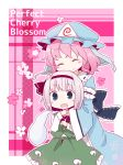 2girls blue_dress blue_eyes dress flower hair_ribbon hand_on_head hat highres hug hug_from_behind konpaku_youmu konpaku_youmu_(ghost) long_sleeves multiple_girls open_mouth perfect_cherry_blossom pink_hair ribbon saigyouji_yuyuko shirt short_hair silver_hair skirt smile touhou triangular_headpiece veil vest wide_sleeves yamabuki_(yusuraume)
