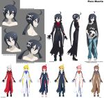 1girl ahoge alternate_color baggy_clothes barefoot black_gloves black_hair black_legwear blonde_hair blue_eyes boots brown_hair casual concept_art expressions fearless_night flat_chest gloves green_eyes hair_ornament highres knee_boots kneehighs long_coat long_hair off_shoulder orange_eyes pale_skin pink_hair player_2 pleated_skirt poco_muerte red_eyes redhead scarf silver_hair skirt skull_hair_ornament solo spikewible t-shirt toenail_polish torn_clothes torn_pants twintails yellow_eyes