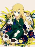 1girl blonde_hair blue_eyes carbonara_hontyotyo crayon doll dress flower highres ib mary_(ib) palette_knife picture_frame rose sitting wariza yellow_rose