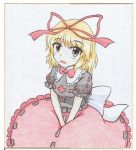 1girl :o between_legs blonde_hair blouse blue_background border bow calligraphy_brush_(medium) colored_pencil_(medium) graphite_(medium) grey_eyes hair_ribbon hand_between_legs looking_at_viewer medicine_melancholy meguru_(mm-da) puffy_short_sleeves puffy_sleeves ribbon short_hair short_sleeves simple_background sitting skirt solo touhou traditional_media