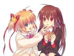 2girls blonde_hair blue_eyes brown_hair food food_on_face hair_ribbon highres kamikita_komari little_busters! long_hair multiple_girls natsume_rin ponytail red_eyes ribbon satomi_yoshitaka school_uniform short_hair waffle