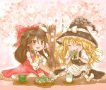 2girls apron ascot black_hair blanket blonde_hair bow braid cherry_blossoms closed_eyes cup detached_sleeves eating food food_on_face hair_bow hair_tubes hakurei_reimu hat hat_ribbon highres index_finger_raised kirisame_marisa leaf long_hair looking_at_another mochi multiple_girls no_shoes open_mouth origami_(bupibupi) picnic plate red_eyes ribbon saucer shade single_braid sitting skirt skirt_set touhou tree wagashi waist_apron wariza witch_hat