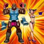 1boy 1girl armpits bikini blush boots boro bottomless boxing_gloves breasts censored cross-laced_footwear dark_skin grin han_juri hat hat_removed headwear_removed high_heels highleg highleg_bikini highleg_swimsuit lace-up_boots m_bison missing_tooth muscle parody pointy_hair red_eyes shoes short_twintails shorts side-tie_bikini smile street_fighter street_fighter_ii street_fighter_iv super_street_fighter_iv surprised swimsuit top_hat torn_clothes twintails