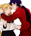 1boy 1girl bishoujo_senshi_sailor_moon blonde_hair blue_eyes character_request double_bun long_hair looking_at_another meeko sailor_moon school_uniform serafuku skirt sweatdrop tsukino_usagi twintails