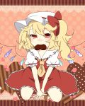 1girl ascot between_legs blonde_hair blush bow chocolate chocolate_heart fang flandre_scarlet hand_between_legs hat heart heart-shaped_pupils highres monako_(uma_speech) mouth_hold puffy_short_sleeves puffy_sleeves red_eyes short_hair short_sleeves side_ponytail skirt slit_pupils smile solo symbol-shaped_pupils touhou v_arms valentine wings