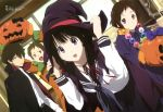 2boys 2girls absurdres black_hair brown_eyes brown_hair cape chitanda_eru detexted fukube_satoshi green_eyes hair_ribbon hat highres hyouka ibara_mayaka jack-o'-lantern megami multiple_boys multiple_girls official_art open_mouth oreki_houtarou pink_eyes ribbon school_uniform serafuku short_hair smile twintails violet_eyes witch_hat