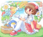 1girl bangs bird blunt_bangs blush bottle brown_hair flower gloves grass hat heart leaf mary_janes mizuno_mumomo momono_kokone original pantyhose penguin picnic picnic_basket puffy_short_sleeves puffy_sleeves red_eyes sake shoes short_hair short_sleeves sitting skirt solo spring_(season) vines white_legwear