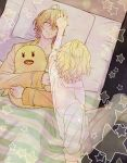 2boys ahoge blonde_hair dual_persona glasses haruka3_(deyaadaa) multiple_boys shinomiya_natsuki shinomiya_satsuki sleeping smile star stuffed_animal stuffed_toy under_covers uta_no_prince-sama
