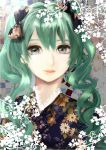 1girl bust green_eyes green_hair hatsune_miku lips solo twintails usashi vocaloid