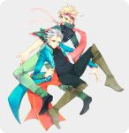 2boys blonde_hair blue_eyes caesar_anthonio_zeppeli crossover devil_may_cry facial_mark feathers green_jacket haine_(howling) headband highres jacket jojo_no_kimyou_na_bouken multiple_boys scarf short_hair vergil white_hair