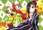 3girls absurdres accel_world black_hair brown_eyes brown_hair chopsticks detexted food highres japanese_clothes kouzuki_yuniko kurashima_chiyuri kuroyukihime megami mochi multiple_girls official_art open_mouth ponytail red_eyes redhead short_hair smile violet_eyes wagashi