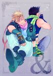 2boys black_hair blonde_hair boots bubble caesar_anthonio_zeppeli closed_eyes dororosso facial_mark feathers green_jacket headband jacket jojo_no_kimyou_na_bouken joseph_joestar_(young) multiple_boys scarf sitting smile