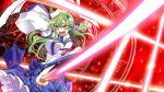 1girl detached_sleeves green_hair hair_ornament kochiya_sanae long_hair magic_circle naughty_face solo takana_shinno touhou yellow_eyes
