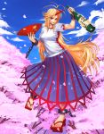 1girl blonde_hair bottle breasts chain cuffs female geta highres horn hoshiguma_yuugi large_breasts long_hair ogami red_eyes sakazuki sandals see-through shackle shirt solo touhou