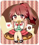 1girl brown_eyes brown_hair chibi doughnut eating idolmaster idolmaster_cinderella_girls long_hair lowres nasa_yu ponytail shiina_noriko sitting skirt smile solo