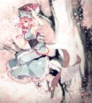 1girl adapted_costume arm_ribbon arm_up blue_dress breasts cherry_blossoms dasulchan dress fan geta hat highres in_tree large_breasts obi petals pink_eyes pink_hair saigyouji_yuyuko sash sideboob sitting sitting_in_tree sleeveless sleeveless_dress smile solo touhou tree veil