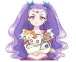 1girl akita_komachi_(pixiv3139843) circlet coco_(precure_5) creature gloves long_hair magical_girl midriff milky_rose mimino_kurumi navel nuts_(precure_5) pink_eyes precure purple_hair smile syrup_(precure_5) white_background yes!_precure_5