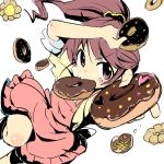 1girl apron brown_eyes brown_hair doughnut idolmaster idolmaster_cinderella_girls long_hair mouth_hold ponytail ruo_(cruzada) shiina_noriko solo