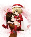 2girls animal_costume antlers bag bell blonde_hair blue_eyes blush brown_hair christmas girls_und_panzer gloves hat holding katyusha long_hair looking_at_viewer multiple_girls nonna reindeer_costume santa_costume santa_hat short_hair smile snowflakes thomas_(yogiiiruu)