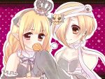 2girls :d animal_ears bandages black_dress blonde_hair brown_eyes candy crown detached_sleeves dress futaba_anzu hair_over_one_eye idolmaster idolmaster_cinderella_girls lollipop long_hair mero-n_usagisan multiple_girls open_mouth pointy_ears shirasaka_koume short_hair smile