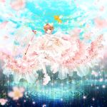1girl brown_hair cardcaptor_sakura cherry_blossoms dress flower fuuin_no_tsue gloves green_eyes highres kero kinomoto_sakura magic_circle magical_girl petals short_hair wand water yamamo_tomoe