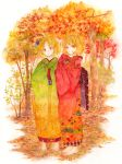 2girls :o aki_minoriko aki_shizuha alternate_costume autumn_leaves barefoot blonde_hair food forest fruit grapes hair_ornament hands_in_sleeves head_tilt japanese_clothes kimono leaf looking_at_viewer maple_leaf multiple_girls nature no_hat no_headwear obi ozawa red_eyes short_hair siblings side_ponytail sisters touhou