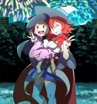 2girls akko_kagari cape child fireworks fukushi_ryouhei hat highres little_witch_academia multiple_girls shiny_chariot v witch witch_hat young