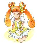 boots brown_eyes brown_hair choker clenched_hand collarbone cure_rosetta dokidoki!_precure double_bun dress earrings flower hair_flower hair_ornament jewelry kneeling kurocchirokko long_hair looking_at_viewer magical_girl precure ribbon simple_background smile solo twintails wrist_cuffs yotsuba_alice