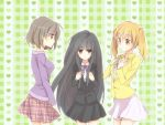 3girls background black_hair bow brown_hair casual heart long_hair multiple_girls rei_(rsoujou) sasaki school_uniform short_hair skirt suou_kuyou suzumiya_haruhi_no_yuuutsu tachibana_kyouko twintails very_long_hair violet_eyes yellow_eyes