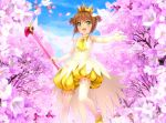 1girl antenna_hair bare_shoulders blush brown_hair cardcaptor_sakura clouds crown dress flower fuuin_no_tsue gloves green_eyes highres kinomoto_sakura magical_girl mutsuki_(moonknives) open_mouth petals short_hair sky smile solo thigh-highs wings