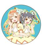 2girls :d ;d black_hair brown_eyes brown_hair dress flower hair_flower hair_ornament hairband idolmaster idolmaster_cinderella_girls locked_arms long_hair mizumoto_yukari multiple_girls nakano_yuka open_mouth smile toufuu twintails v wink
