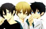 3boys ao_no_exorcist black_hair blonde_hair blue_eyes brown_eyes durarara!! grey_eyes group kida_masaomi kirigaya_kazuto kirito okumura_rin sword_art_online