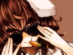 1girl adjusting_glasses animal_ears brown_background brown_hair carrot close-up dutch_angle glasses highres inaba_tewi jewelry looking_at_viewer looking_over_glasses mister_rhino_(wangzisama1001) pendant rabbit_ears red_eyes smile solo sunglasses touhou