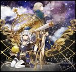 blue_eyes book braid buzz collar collarbone fingerless_gloves gloves grey_hair high_heels pixiv_fantasia pixiv_fantasia_new_world ponytail ribbon shoes silver_hair sitting skirt space star_(sky) telescope wariza yellow_eyes
