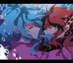 1boy 1girl blue_hair botan_(yuu_yuu_hakusho) bubble closed_eyes kurama letterboxed long_hair marirero_a ponytail redhead submerged underwater yuu_yuu_hakusho