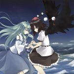 2girls black_hair clouds couple detached_sleeves green_hair hat hitsujin holding_hands interlocked_fingers kochiya_sanae long_hair multiple_girls night night_sky red_eyes shameimaru_aya short_hair sky smile star_(sky) starry_sky tokin_hat touhou wings yellow_eyes yuri