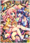 2girls :d artist_name basket black_shoes blue_eyes book bookshelf colored_pencil_(medium) couch dress emperpep flower horn jacket kneehighs long_hair mary_janes multicolored_hair multiple_girls my_little_pony my_little_pony_friendship_is_magic open_mouth personification petals pink_dress pink_hair pinkie_pie purple_legwear shoes short_dress sitting sitting_on_lap sitting_on_person skirt smile socks sweets traditional_media twilight_sparkle two-tone_hair vest watercolor_(medium) white_legwear