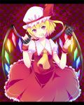 1girl ascot checkered checkered_background explosive flandre_scarlet grenade hat hat_ribbon highres letterboxed mouth_hold red_eyes ribbon side_ponytail skirt skirt_set smile solo touhou wings wrist_cuffs